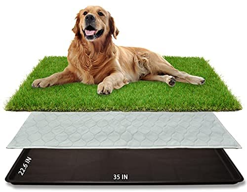Dog Grass Large Potty Patch (35″X22.6″), Artificial Dog Grass Bathroom Turf for Pet Training, Washable Puppy Pee Pad, Perfect Indoor/Outdoor Portable Potty Pet Loo
