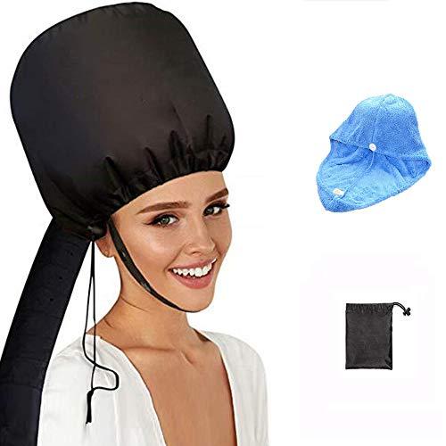 Capó Secador de pelo accesorio de capó con toalla azul, capó suave portátil – Tapa de secado de pelo ajustable para el cuidado de las condiciones profundas