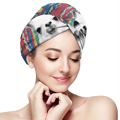 Llama Smoking Weed Tie Dye Microfiber Hair Towel Wraps with Button for Women Quick Dry Anti-frizz Head Turban for Long Thick Curly Hair Super Absorbent Soft Bath Cap 11¡± X 28¡±