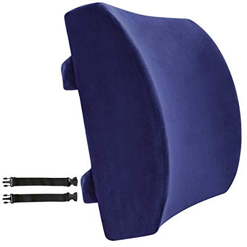 Love Home, cuscino di supporto in memory foam per la zona lombare e sacrale della colonna vertebrale, sostiene una postura corretta mentre si sta seduti; perfetto per la casa, l'ufficio, l'auto e le sedie a rotelle; dimensioni: 34 x 34 x 12 cm Navy blue