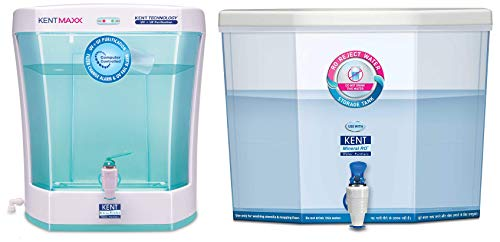 KENT Maxx 7-litres Wall Mountable/Table Top UV + UF (White and Blue) 60-LTR/hr Water Purifier with Detachable Storage Tank & Kent RO Reject Water Storage Tank 14- litres Wall-Mountable Combo