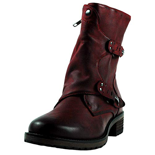 SPM Shinola Damen Biker Boots, Damenstieflette rot, Lederboots rot