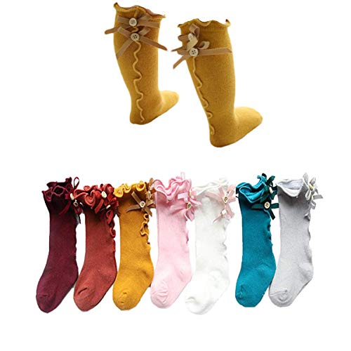 Udobuy 7 Pairs Baby Girls Princess Bowknot Stockings Cotton Knee High Socks Infant Toddle Over Calf Knee High Socks Long Socks