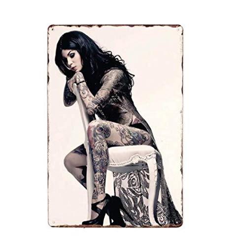 qnmbdgm Eisenmalerei Zinnmetall Malerei Wandkunst-Plakat Tattoo Girl Pin Up Blechschild Metall Plaque Tattoo Studio Shop Dekoration Wand Vintage Kunst Malerei Poster