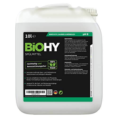 BiOHY Spülmittel (10l Kanister) | Frei von schädlichen Chemikalien & biologisch abbaubar | Glanz- & Fettlöseformel | Für Gastronomie, Industrie und Haushalt geeignet