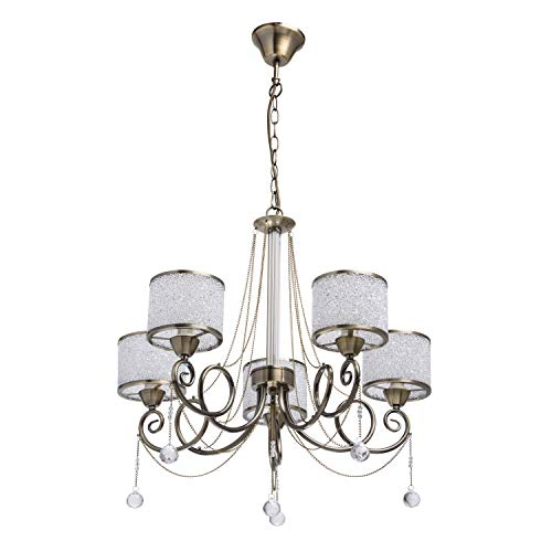 MW-Light 372013405 Eleganter Kronleuchter 5 Flammig Messing Kristall Glasschirm
