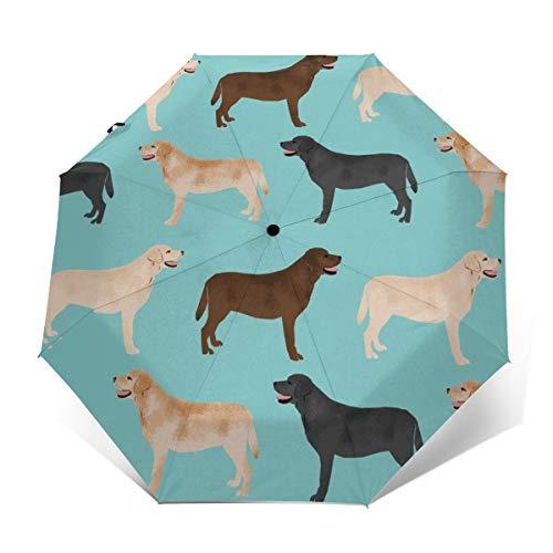 Sunproof Waterproof Travel Auto Folding Umbrella for Women Men Kids, Golf Umbrellas Ergonomic Handle, Auto Open and Close Button, Cute Labradors Yellow Chocolate Black Lab Pet Dogs Umbrellas