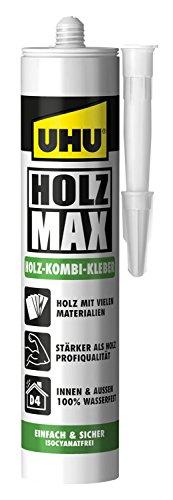 UHU Holz Max Kartusche, wasserfester und hochbelastbarer Holz-Kombi Klebstoff ohne Lösungsmittel, 380 g