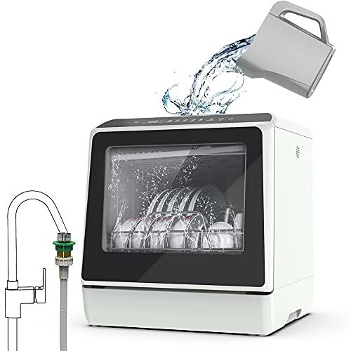 Lavavajillas de encimera portátil, 5 programas de lavado, tanque de agua integrado de 3 tazas, spray ciclón 3D, limpieza de frutas y verduras con cesta, alta temperatura, secado al aire, adaptador de grifo incluido