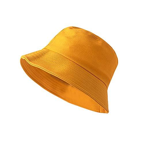 ZHIWEN Unisex Sommerhut faltbar Bucket-Hut weiblich Outdoor Sonnenschutz Angeln Jagd Hut Herren Basin Stirnband Sonnenschutz Hut Gr. Medium, gelb