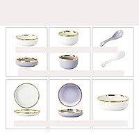 カレー皿パスタ皿サラダ皿陶器深皿盛り鉢食器軽い贅沢とプノンペンの細かい磁器の滑り止めの底はに使用,Purple And White