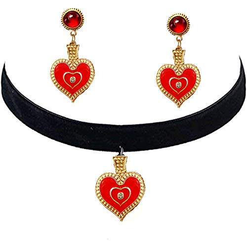 Queen of Hearts Costume Red Heart Earrings and Choker Necklace Halloween Costume for Queen of Hearts Halloween Dangle Drop Earrings and Black Choker Vintage Accessories Jewelry for Women