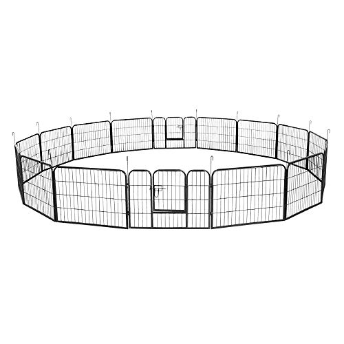 LARS360 Welpenlaufstall Freilaufgehege Welpenauslauf Hundelaufstall Laufstall für Kleintiere Tierlaufstall Hunde Welpenfreigehege mit Tür, 16tlg Größe (80 * 60 cm)