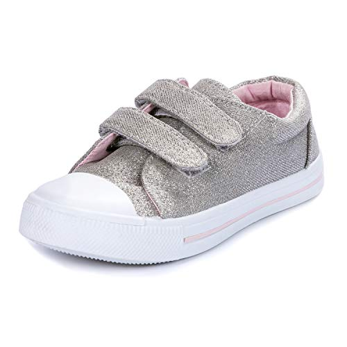 K KomForme Toddler Sneakers for Boys and Girls Cartoon Dual Hook and Loops Sneakers Baby Canvas Shoes Silver