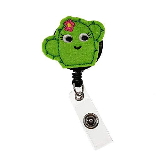 Cute Succulent Cactus Nurse Felt Retractable ID Badge Reel Name Tag Clip Holder Green
