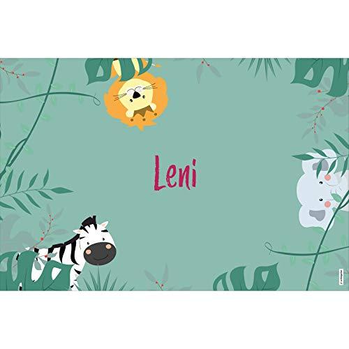 schildgetier Leni Türschild Namensschild Leni Geschenk mit Namen und süßen Dschungel Tier Motiven 30 x 20 cm Dekoschild Schild mit Tieren