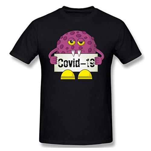 Coronavirus con la máscara de la Camiseta Divertida del Humor COVID-19 de los Hombres de 2020 tee (Color : Black, Size : S)