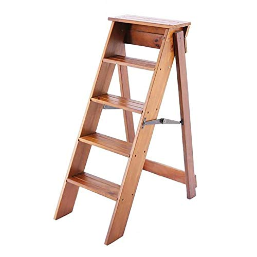Wooden Folding Step Ladders Stool,5-Steps, Multifunction Climb Ladder Shelf, Stepladder for Kitchen Office Library - Natural Wood Color