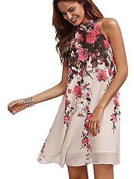 Floerns Women s Summer Chiffon Sleeveless Party Dress - Large - Pink