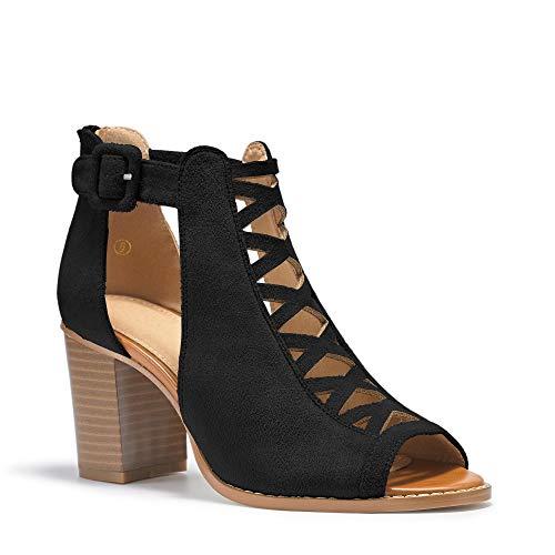 Liyuandian Womens Platform Open Toe Ankle Strap Zipper Back High Heel Sandals