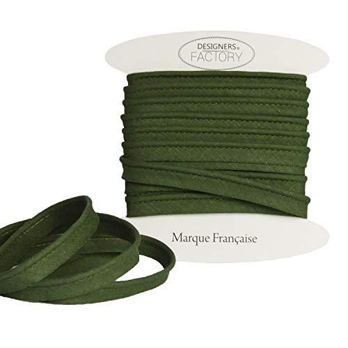 designers-factory Paspelband Baumwolle - sehr Gute Qualität - Paspelband zum nähen - 10mm breit - In Mehreren Farben erhältlich (Um 5 Meter, Khaki)