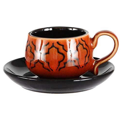 Qnmbdgm mok in Europese stijl met espressokopjes en schoteltjes, 90 ml, trompet, handbeschilderd, minimaten