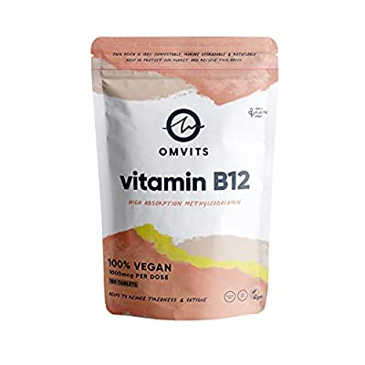 Omvits Vegan Vitamin B12 - 1000mcg Methylcobalamin - 180 Tablets in 100% Plastic-Free Packaging - High Strength Supplement - 6 Month Supply - Palm Oil Free - Helps Reduce Tiredness & Fatigue