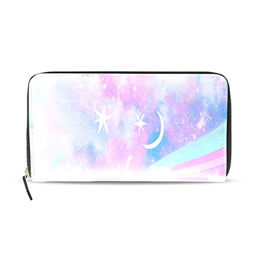 Pink Rainbow Unicorn Cloud Long Passport Clutch Purses Zipper Wallet Case Handbag Money Organizer Bag Credit Card Holder For Lady Women Girl Men Travel Gift