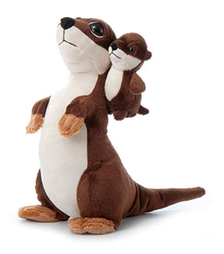 The Petting Zoo Mom and Baby River Otter Stuffed Animal, Gifts for Kids, Pocketz Zoo Animals, River Otter Plush Toy 11 inches