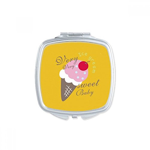 DIYthinker Cerise Sweet Baby crème glacée sucrée Miroir carré Maquillage Compact Portable Mignon Cadeau Miroirs de Poche à la Main Multicolore