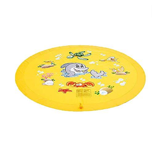 JMG Kinder Im Freien Aufblasbaren Spielmatte Wasserspielzeug Party Im Freien Sprinkler Splash Pad Für Kinder Der Baby-Fußboden Playmat Spielteppich Spielzeug,Gelb
