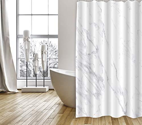 """MSV Cotexsa by Premium Anti-Schimmel Textil Duschvorhang - Anti-Bakteriell, waschbar, 100prozent wasserdicht, mit 12 Duschvorhangringen - Polyester, """"Toscana"""" Marmor Weiß 180x200cm – Made in Spain"""