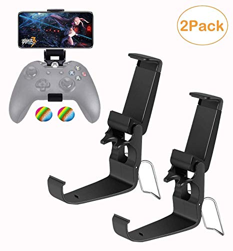 2 Pack Xbox One Controller Phone Clip, Foldable Mobile Phone Holder Mount Clamp for Mobile Phone iPhone/Samsung/Sony/LG/Huawei/HTC, Compatible with Xbox One/Steelseries Nimbus/Steam Controllers