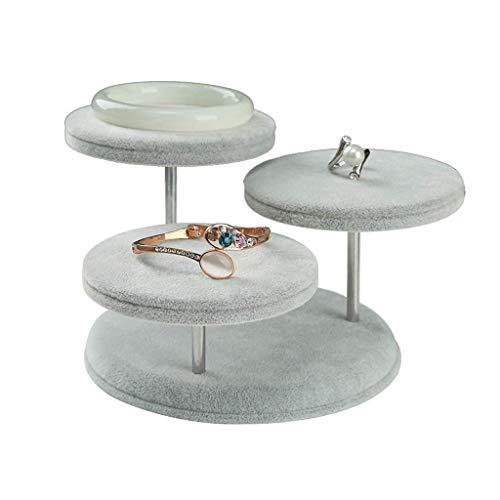 JIAJBG Relojes de pulsera Organizador de almacenamiento de joyas Soporte de exhibición con 3 bandejas, pendiente de terciopelo suave Estante de soporte de exhibición de collar de ja