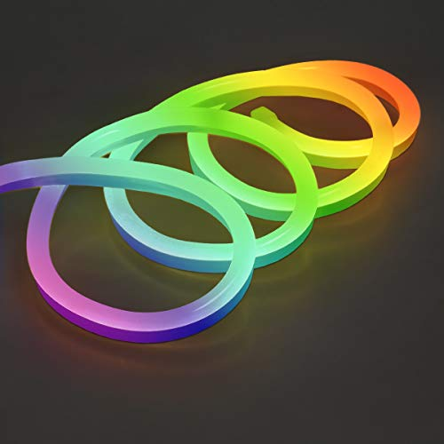 ECD Germany Neon LED Strip RGB 20m mit Kontroller und Fernbedienung - SMD 5050-60 LEDs/m - 9W/m - 230V - Wasserdicht IP68 - Dimmbar Diffusion Flexible - Leiste Stripe Streifen Schlauch Lichtband