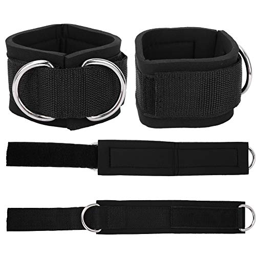 1 paar fitness enkelband, dubbele D-ring enkelboeien Verstelbare nylon spons Premium manchetten voor benen Buik- en bilspieroefeningen