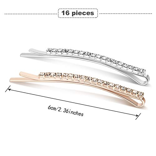 16 Pieces Rhinestone Bobby Pin Metal Hair Clips Clear Crystal Hair Pin Decorations for Lady Women Girls (Color 1)