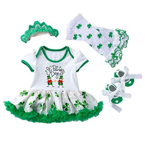 TENDYCOCO Ensemble de Costume de Bébé pour Saint Patrick Day Girls Dress Party Apparel Clover Vêtements avec Robe Bas Chaussures Bandeau-6-12 Mois L