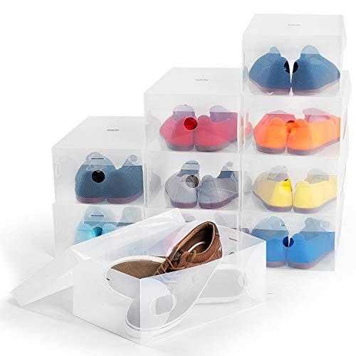 Tafkraft Glasgow Boîtes à Chaussures, Lot de 10, Boîte de Rangement pour Chaussures avec Aération,Toutes Les Tailles Jusqu'au 49, Transparent et Blanc