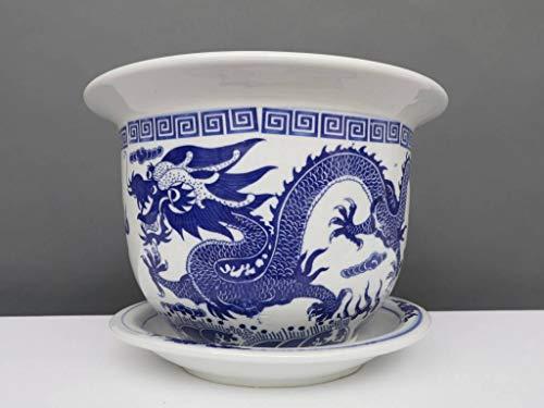 Yajutang Maceta de porcelana china, diseño de dragón, 24 cm de diámetro, color azul y blanco