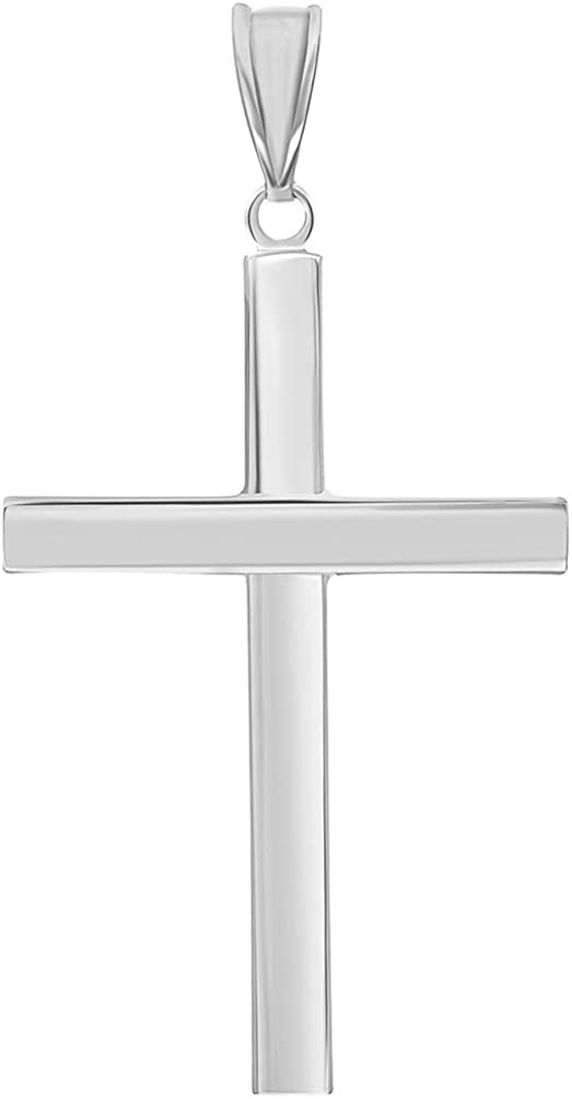 14k White Gold Simple Religious Cross Pendant