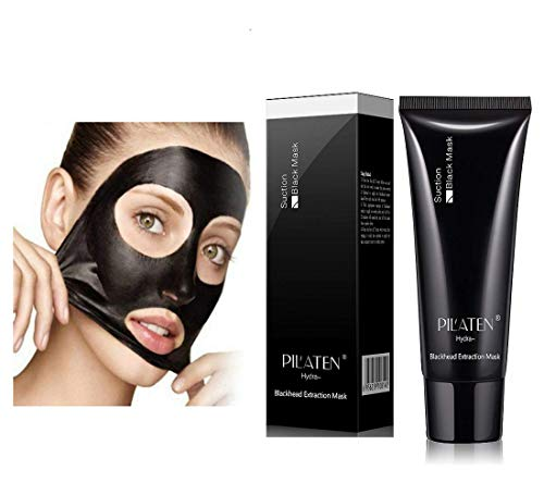 PILATEN Blackhead Remover Mask,Tearing style Deep Cleansing purifying peel off the Black head,acne treatment,black mud face mask 60g with Specially Designed Facial Scrubber