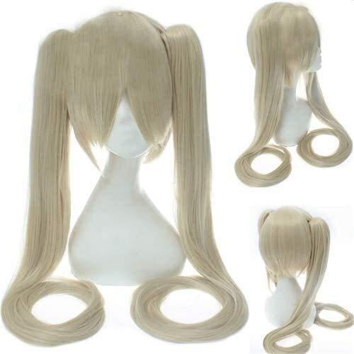 Peluca de anime Hatsune Miku Vocaloid Cosplay peluca negra Rock Shooter Senbon Zakura Pelucas de pelo sintético largo chip cola de caballo + gorra DM120 7 (color DM120 2)