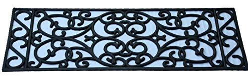 Relief Stufenmatten SCALA Außenbereiche Treppenmatten Antirutschmatte 25x75cm schwarz Design geschwungen outdoor von Jet-Line Gummimatten Garten Terrasse Balkon Treppe