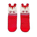 Tree-es-Life Calcetines Rojos de algodón de otoño e Invierno, Calcetines navideños de Dibujos Animados estéreo, Lindos Alces japoneses, Calcetines de Tubo para Mujer, Zorro Rojo