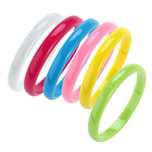 Tinksky Bracciale braccialetto in plastica braccialetto bracciale Candy per donne Favourite Bambini 6-Pack (Verde Giallo Blu Rosa Rosa Rosso Bianco)