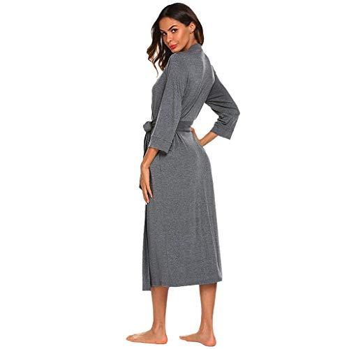 Túnica de invierno para mujer, bata de baño de algodón cálido, manga 4/3, bata ligera con cuello en V, bata para el hogar y camisón