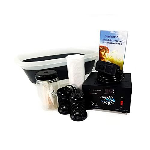 HEALTHandMED IonizeMe Maxx Ionic Detox Foot Bath & Detox Foot Spa | Heavy Duty Ionic Foot Detox Machine | New Elite Spa System Ionic Foot Bath Detox Machine | 15 to 18 Volts, 2.2 Amps, Starter Kit