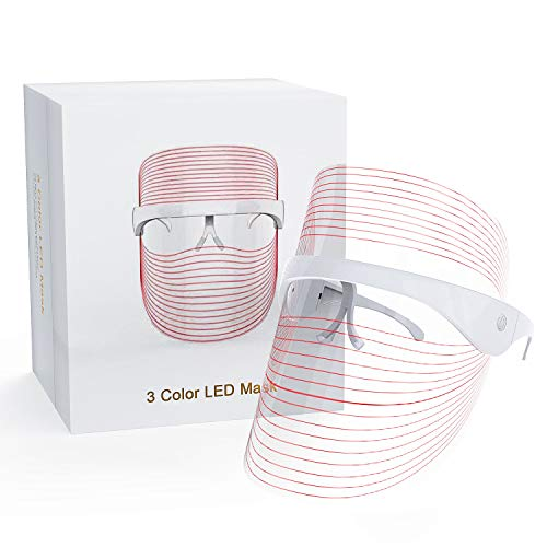 LED Face Mask Light Therapy, 3 Colors Light Therapy Facial Photon Beauty Device for Facial Rejuvenation, Wrinkles Reduction, Anti-Aging