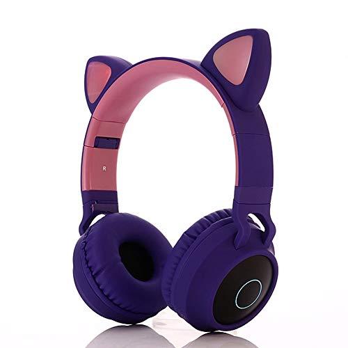 LIMTT Draadloze Kattenoren On-ear Hoofdtelefoon, Lichtgevende Bluetooth-Headset, Voor Kinderen Meisjes Cartoon-Oortelefoons Paars